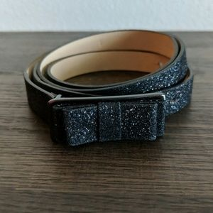 Ann Taylor LOFT Black Sparkle Bow Belt Size Small